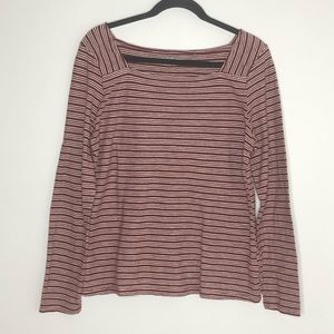 Toad & Co long sleeve, cream & red T-shirt, size L